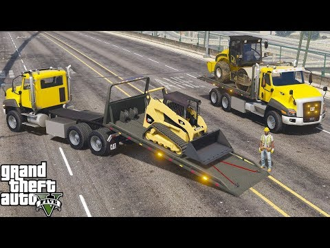 GTA 5 Real Life Mod #174 New CT660 Rollback Flatbed Wrecker Towing Heavy Construction Equipment