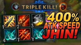 One of Brofresco's most viewed videos: JHIN RECORD: 400% Attack Speed (850 MS, 900 AD, 100% CRIT)