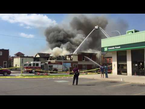 MASSIVE FIRE IN DOWTOWN GRIMSBY ONTARIO /// JULY 6th 2017