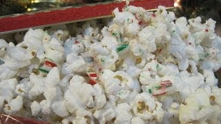 Christmas Day White Chocolate Peppermint Crushed Candy Cane Popcorn - How To Make Popcorn Recipe