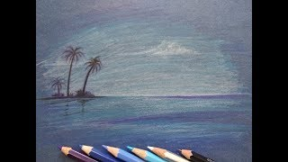 Drawing Sea Island - How to Draw Scenery of Sea Landscape with Pencil Color Step by Step Tutorial