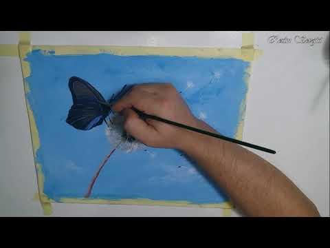 Resim Nasıl Yapılır | Çizilir #6 Karahindiba ve Kelebek Çizimi – Acrylic / Butterfly on Dandelion