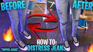Download lagu HOW TO DISTRESS JEANS MAKING RIPPED JEANS DIY MP3