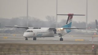 Luxair Bombardier DHC-8-402 LX-LQB departure at Munich Airport