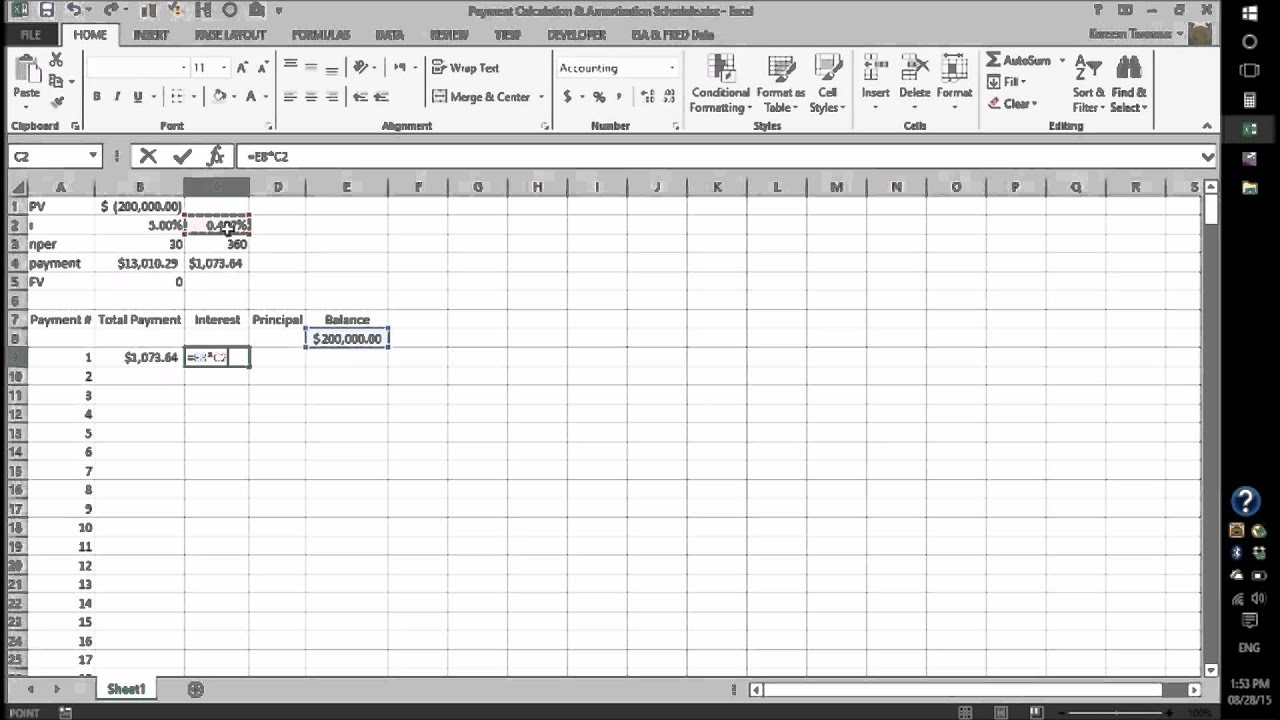 Setting Up a Payment Schedule in MS Excel - YouTube
