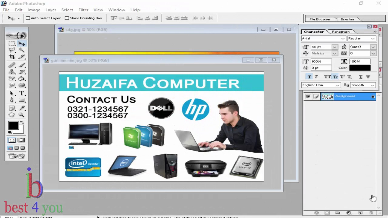 How to Make Shop Card / Business Card in Adobe Photoshop 7.0 in ...