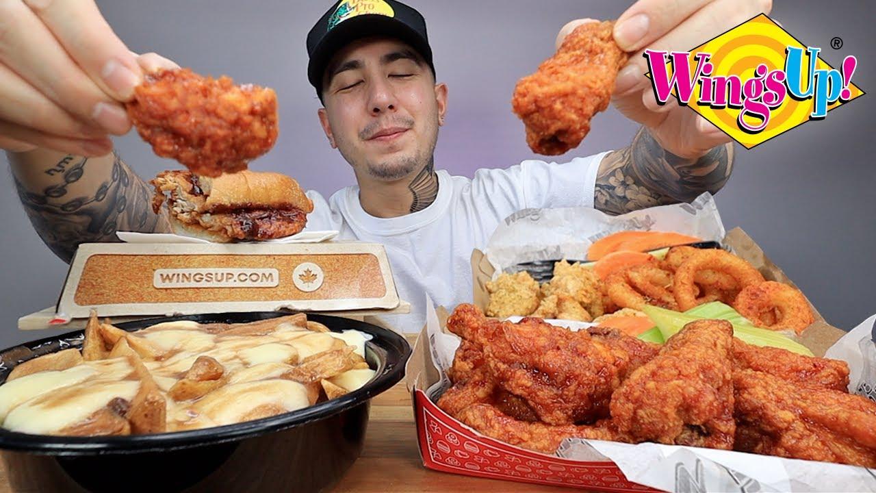 MUKBANG EATING Buffalo-Style Wings, Lemon Pepper Wings, Cajun Onion Rings, BBQ Chicken Sandwich