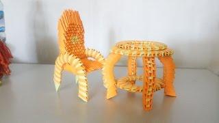 3d origami Desk and chair - Hướng dẫn xếp bộ bàn ghế origami 3d - poppy9011