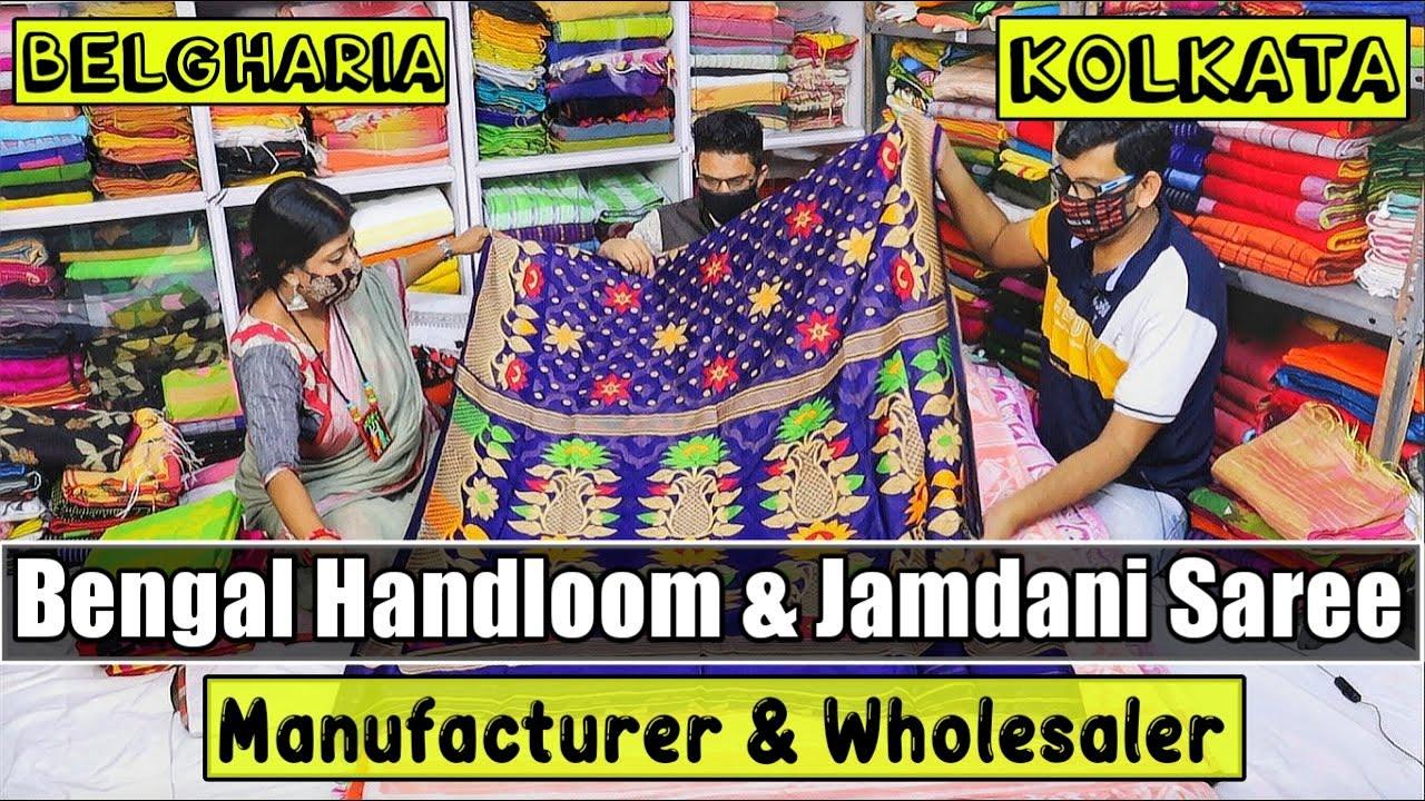 Wholesale Saree Market in Kolkata   Handloom/Linen/Jamdani/Tussar/Pure Silk/Muslin/Benarasi/Mulmul😲😲