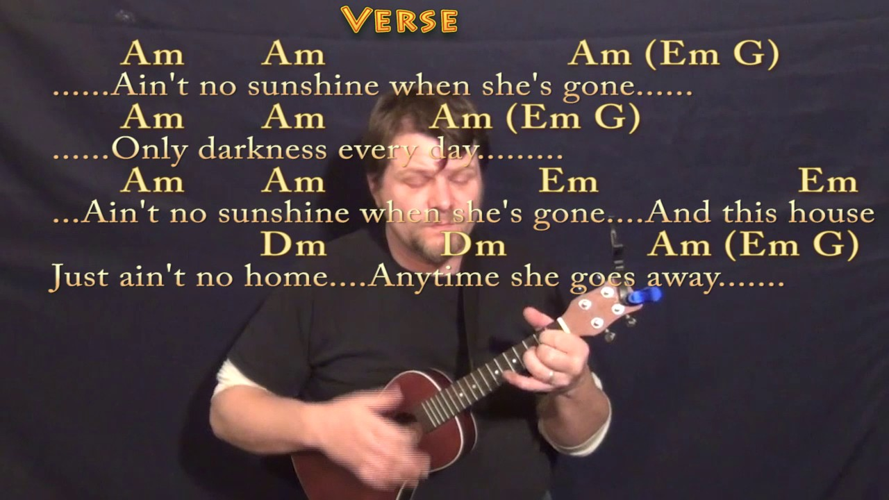 Aint No Sunshine Bill Withers Ukulele Cover Lesson With Chords