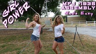 Watch Two Hot Women assemble an MFJ-1835 Cobweb Ham Radio Antenna? K6UDA Radio