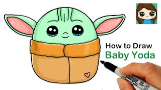 How to Draw Baby Yoda Easy | Squishmallows