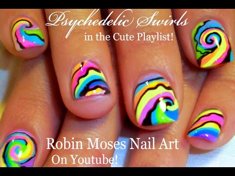 Psychedelic Nails Rainbow Pastel Swirl Short Nail Art Design Youtube