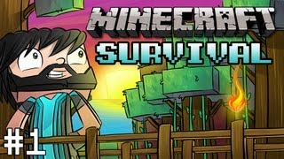 Minecraft : Survival - Part 1 - Diamonds Are a Noodle's Best Friend