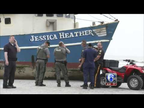 Fishing boat  runs aground on Atlantic City New Jersey beach