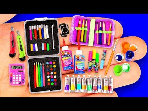 26 DIY MINIATURE SCHOOL SUPPLIES IDEAS ~ BIG COLLECTION OF MINIATURES