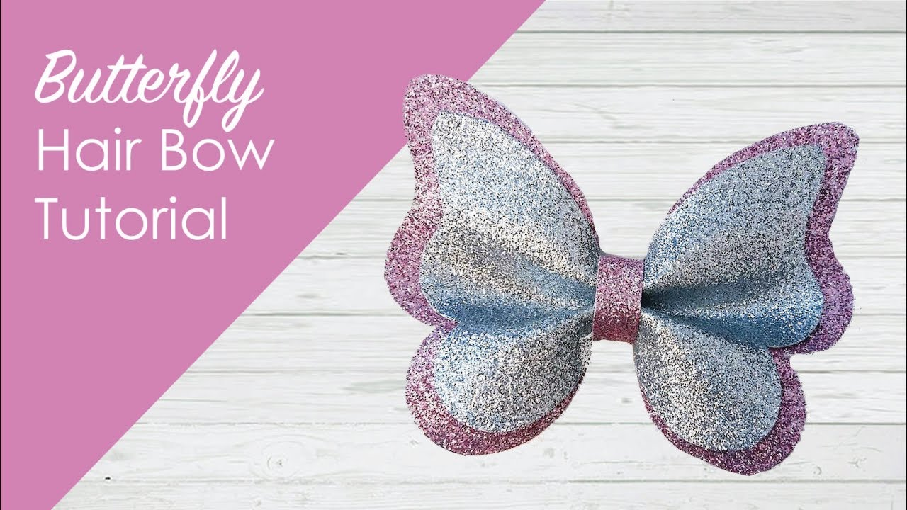 Butterfly Double Layer Pinch Glitter Bow Tutorial