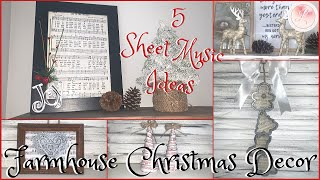 Christmas Diy Decor | 5 Easy Farmhouse Style Christmas Ideas Using Sheet Music