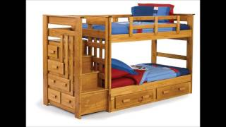 Kids Bed Solid Walnut Brown Wood Twin Double Bunk Bed