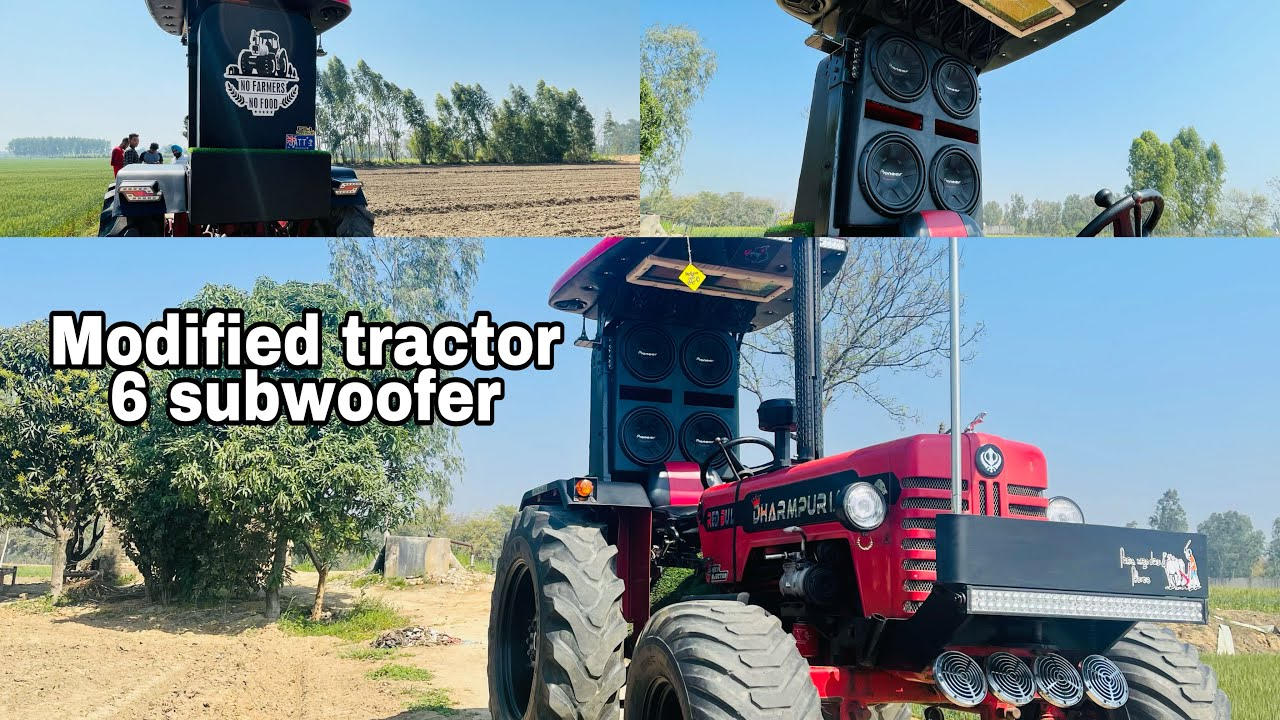 Modified tractor | 6 subwoofer tractor sound system | modified fibre hood | Lakhwinder rai tractor