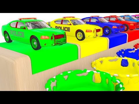colors Police Cars for Kids and Fun Learning Vehicles 3D Cartoons for Children Video
