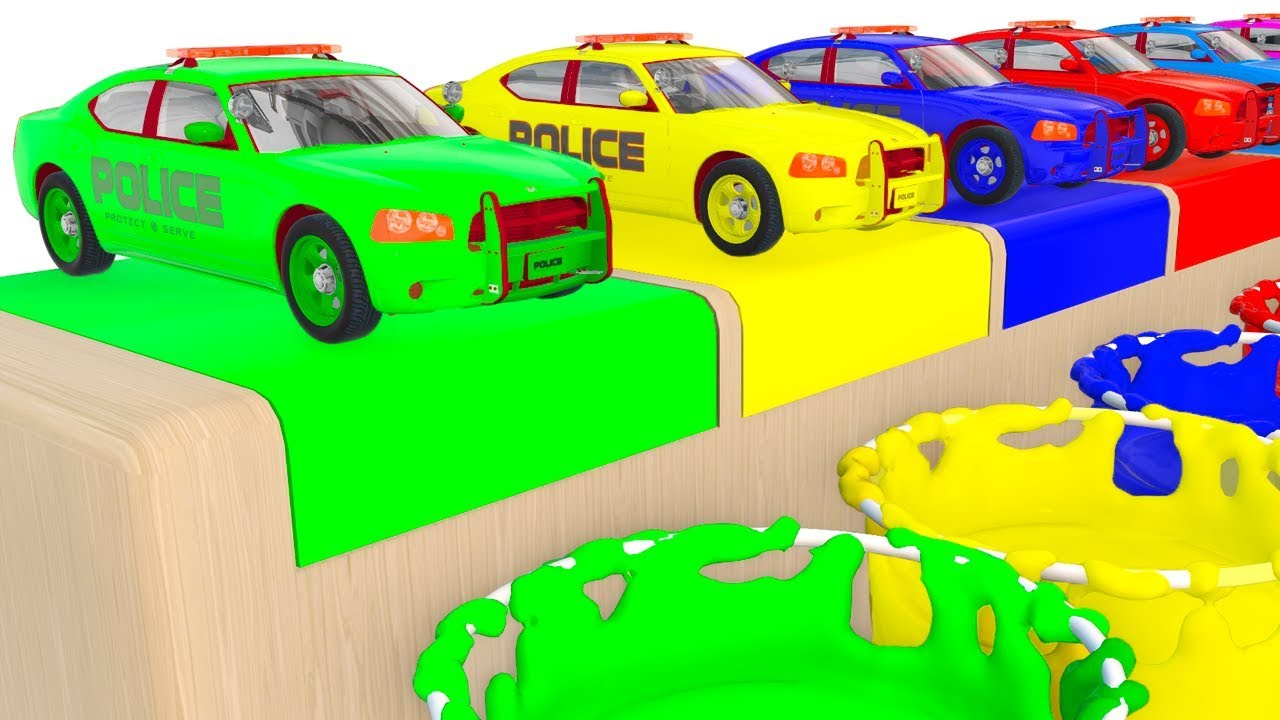 colors Police Cars for Kids and Fun Learning Vehicles 3D Cartoons for  Children Video - YouTube