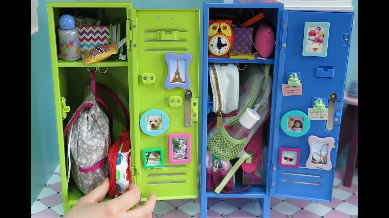 Stickers Green Metal American Girl Doll School Locker Set and Accessories NEW!