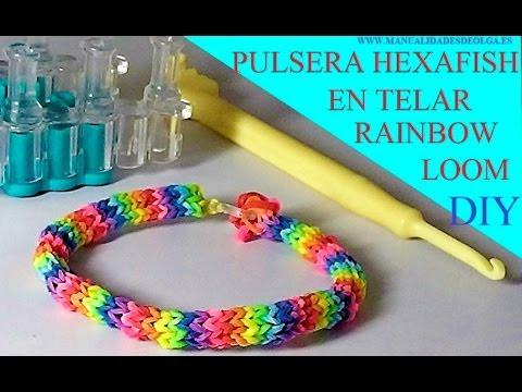 4008272c258b COMO HACER PULSERA GOMITAS O LIGAS MODELO HEXAFISH EN TELAR RAINBOW LOOM  TUTORIAL ESPAÑOL DIY