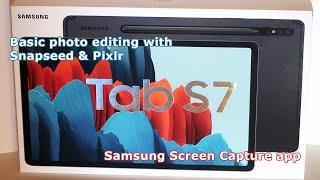 Samsung Galaxy Tab S7 screen recording basic photo editing