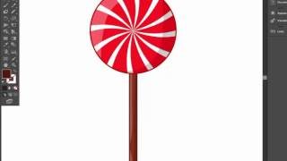 candy lollipop Illustrator tutorial. Simple way to draw nice illustration for christmas.