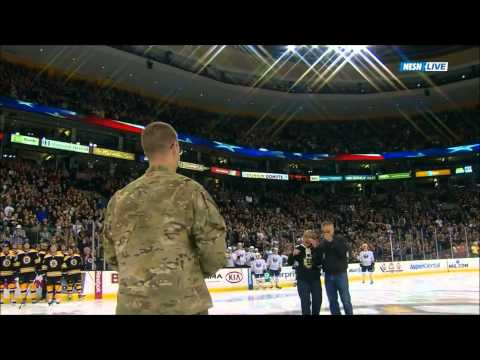 Soldier Surprises Parents at Center Ice During Bruins Game 11/12/11