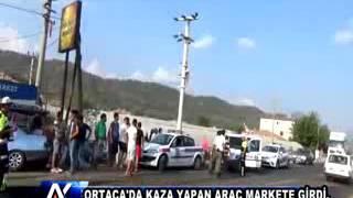 AYTV AYDIN Ortaca'da kaza yapan araç markete girdi