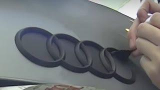Audi A4 Emblem Black and Red PlastiDip
