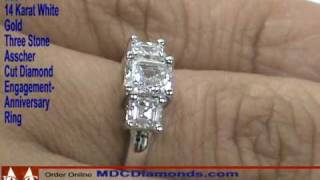 es371 three stone asscher cut diamond anniversary engagement ring mdc diamonds nyc