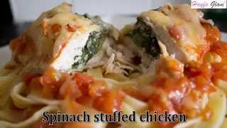 Spinach stuffed chicken with pasta and tomato (healthybodybuilding)