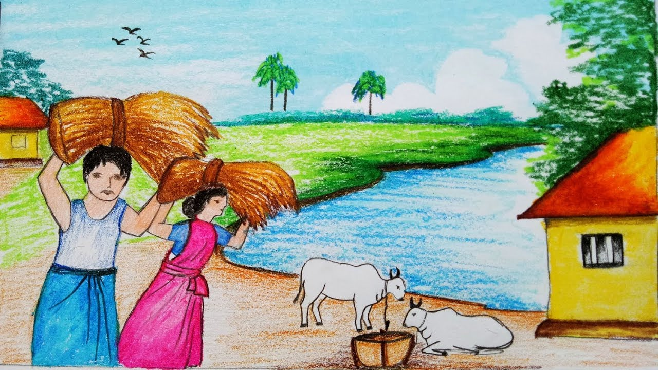 How to draw a village landscape where farmers harvesting paddy scenery step by step easy draw mukta easy drawing