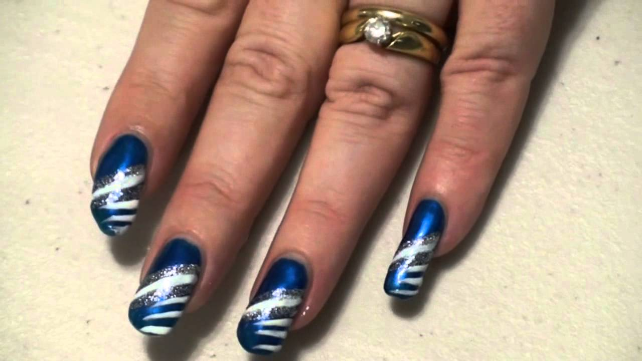 Sparkly blue white silver nail art design easy youtube prinsesfo Images
