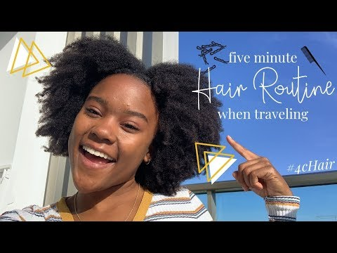 5 MINUTE NATURAL HAIR MORNING ROUTINE | How I Refresh My Type 4 Hair When Traveling!