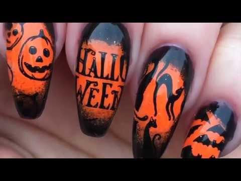 halloween nail art stamping tutorialgel polish  pigment