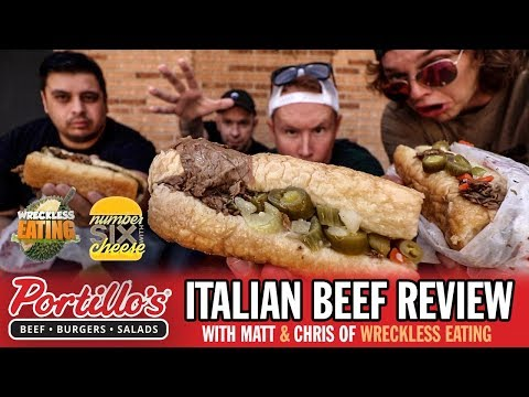 Eating Portillo's Italian Beef Sandwiches with WRECKLESS EATING in CHICAGO!!