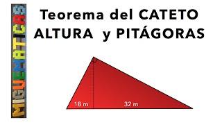 Teoremas de Pitágoras, Altura y Cateto (ejemplo 1)
