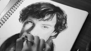 Drawing Sherlock (Benedict Cumberbatch) BBC. Charcoal.