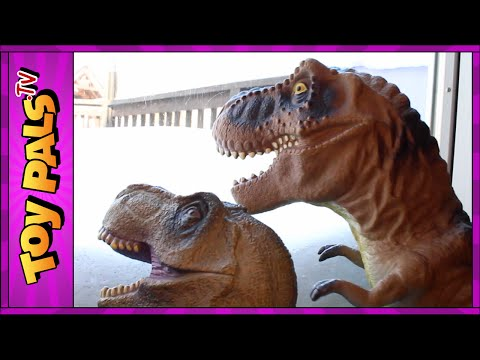 Thumbnail: DINOSAUR Snowball Fight with GODZILLA, T-REX and Indominus Rex Toys Video for Kids