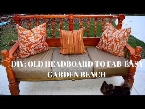 DIY: OLD HEADBOARD TO FABULOUS EASY GARDEN BENCH