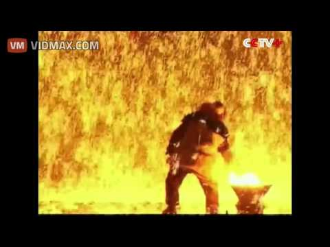It's called  Dashuhua , these North Chinese performers throw molten metal against a wall