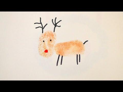 Weihnachtskarten Mit Fingerabdruck.Rentier Fingerabdruck Süße Tiere Mit Den Fingern Selber Stempeln