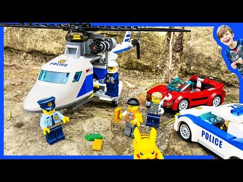 LEGO POLICE CARS and HELICOPTERS RESCUE PICACHU