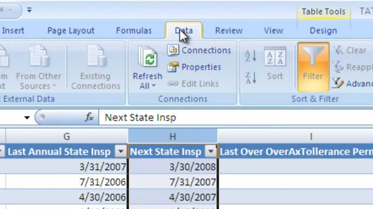Fleet Maintenance Software -Inspections And Permits Last And Next  Spreadsheet And Data Connect