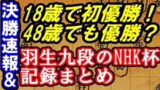 決勝速報&初優勝からの羽生善治九段NHK杯における栄光の歴史を振り返ります!一般棋戦での最多優勝記録更新も