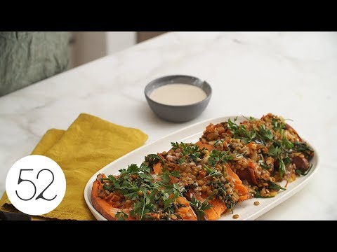 Baked Sweet Potatoes with Spiced Lentil Salad & Lemon Tahini Dressing Recipe on Food52